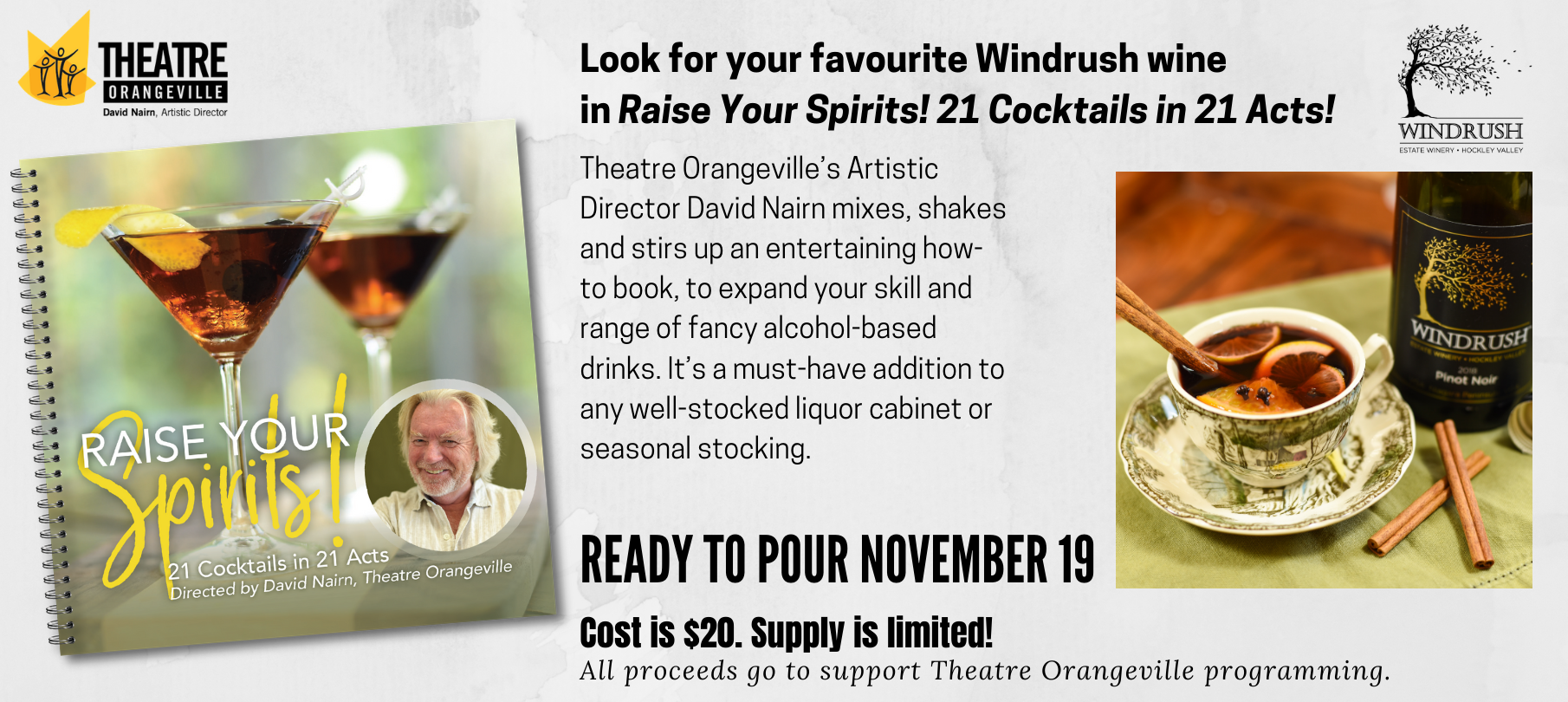"Theatre Orangeville Flyer for ""Spirits"" and sponsor Windrush Estate Winery"
